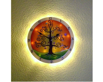 Life of Tree Lighted Wall Clock, Large, Silent Hand Painted Glass Wall Clock