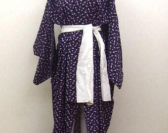 Purple vintage kimono robe / Ohgi paturn