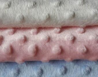 Super soft dimple fleece, minky, pink blue ivory black