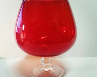 Vintage Red Brandy Balloon Glass/ Snifter