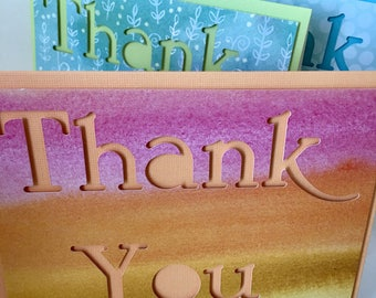 Thank You Cards set of 4 Handmade