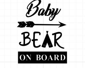 Baby Bear On Board Decal, Car Decal, Baby On Board Decal Mama Bear Decal Papa Bear Decal