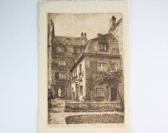 Vintage post card, Franz Jander, Berlin, etching, Bonn Beethovenhaus, antique postcard etching, PetesNeatOldStuff, collectible post card
