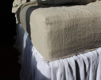 Flax Linen fitted bed sheet- 14 colors- 14''/20'' depth-Softened stonewashed fitted sheet -Natural bed sheet #Kassandra#