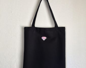 Pastel Diamond Eco Bag. Canvas Bag. Tote bag. Fabric bag. School Bag. Reusable Bag.