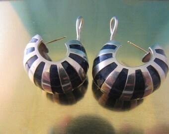 TIFFANY & CO sterling silver blue enamel pierced earrings