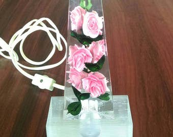 Bircraft 1940s Acrylic Lucite Pink Rose Accent Light - Vintage