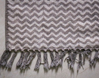 Handmade Handprinted Rug, Dhurrie 2 x 3, Zig Zag design, 100% Cotton, FREE Shipping!