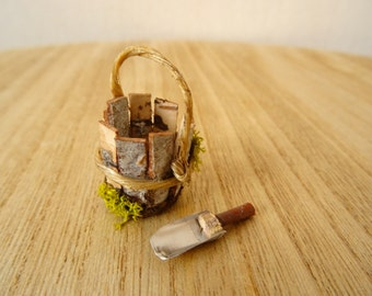 Miniature bucket and scoop for fairy garden (handmade)