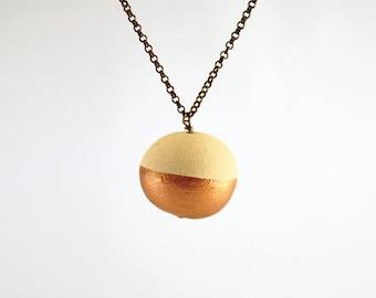 Lecce stone, copper ball, long pendant necklace, copper color