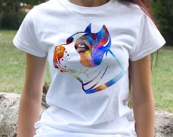 American pitbull terrier T-shirt - Dog Tee - Fashion women's apparel - Colorful printed tee - Gift Idea
