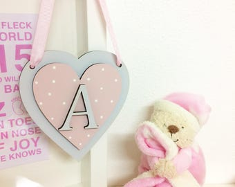 Personalised Hanging Heart, Baby, Baby Girl, Baby Shower, Gift, Present, Newborn Baby, Nursery Decor, Keepsake, Initial, Hearts