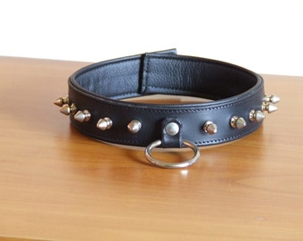 Padded collar, leather details with backseam, genuine leather,