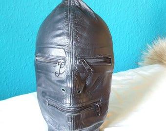 Cagoule en cuir, masque de cuir, en cuir avec fermeture éclair, verrouillable