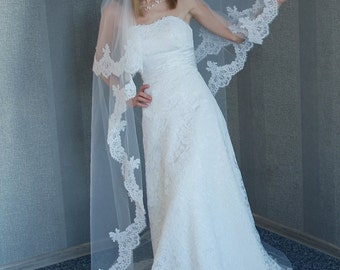Long Alencon lace veil, Light Ivory veil, 2 tier veil, Veil with Alencon lace, Catholic veil, Veil for Cathedral, Cord lace
