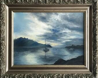 """Original Oil Painting On Canvas """"Montreux"""" Size: 40cm x 50cm"""
