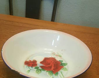 Vintage ~  Bumper Harvest ~  Enamelware Bowl ~ Vibrant Floral Pattern
