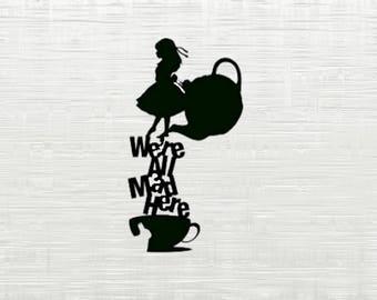 Disney Alice In Wonderland SVG,DXF Disney princes cutfile svg, svg files for silhouette cameo, cricut explore, dxf file, Alice in Wonderland
