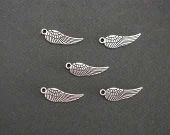 Angel Wing Charm, Antique Silver, Zinc Based Alloy, 1.7cm x 0.5cm, Set of 5  (C13)
