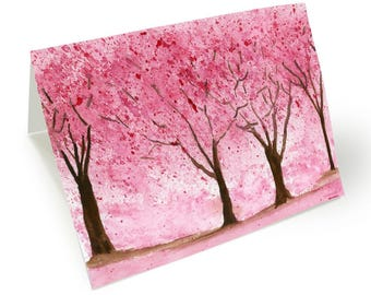 Romantic Greeting Card. Love Card.  Romantic Card. I miss you card. Anniversary Card. Cherry Trees Card. Love Card. Thinking of You Card