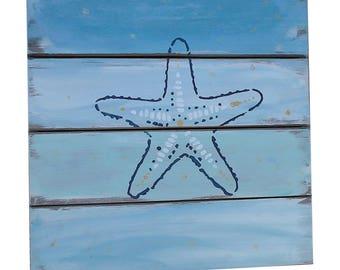 Starfish décor beach wood wall art