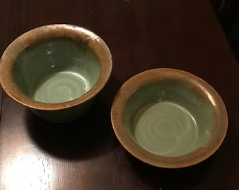 Pair of Hand-Thrown Pigeon River Pottery Bowls