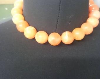 Orange beaded choker necklace