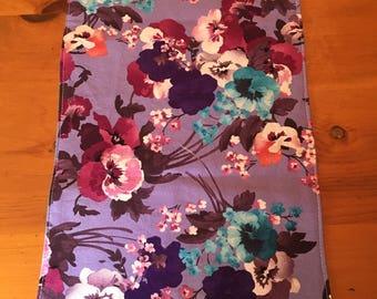 table runner, purple floral, flowers
