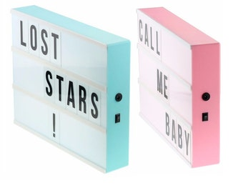 A4 Lightbox - Limited Edition - Pink or Blue with 170 piece black/colour letter, number & symbol set