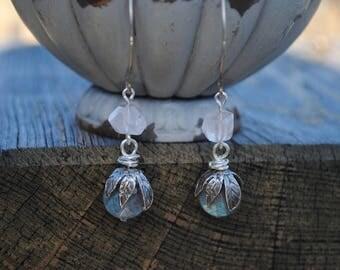Labradorite and Sterling Silver Earrings, Labradorite Jewelry, Rose Quartz and Labradorite Earrings, Gemstone Jewelry, Dangle Earrings