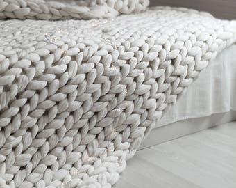 Chunky Knit Merino Wool Blanket, Basket Weave, chunky wool, chunky, Wool, Wool Blanket, Merino Blanket, Arm Knit, Knit, Knit Blanket