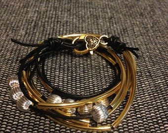 Two Leather Strand Wrap Bracelet or Necklace (Lizzy James Inspired)