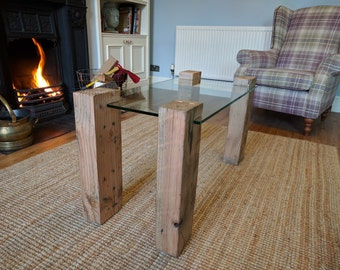 Glass and reclaimed Redwood industrial coffee table