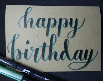Happy Birthday Hand Lettered card