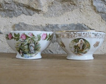 2 cafe au lait bowls, small size French Lourdes coffee bowls by Limoges