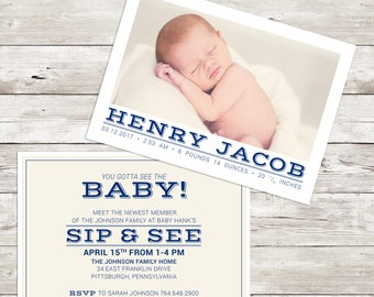 Birth Announcement, Sip and See Invitation, 5x7 Printable, Arbor Grace Collections