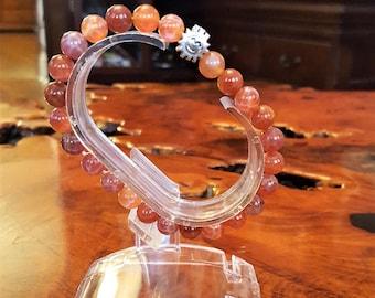 8 mm Genuine Fire Agate Bead Bracelet