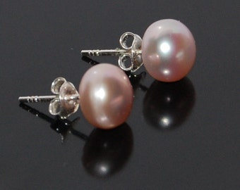 Silver earrings, earrings, sterling silver 925 earring Pearl rose, handmade new