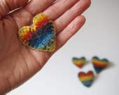Rainbow Pin. Knit, felted, and stitched by hand!