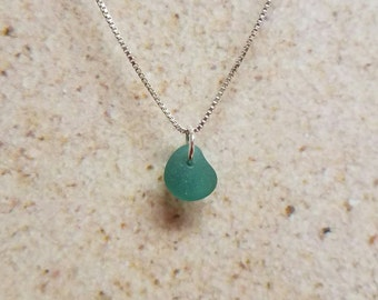 Dainty Sea-Green Sea Glass Necklace- FREE SHIPPING!