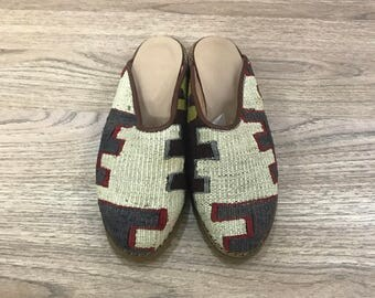 USA size is 5 EUROPA size is 35 Kilim slippers, kilim shoes, women slippers, slipper, handmade slippers