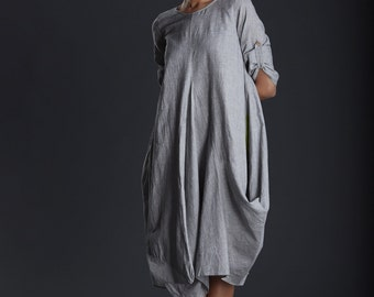 Women's Cotton Dress / maxi / summer dress / light grey / asymmetrical/ cowl Dress