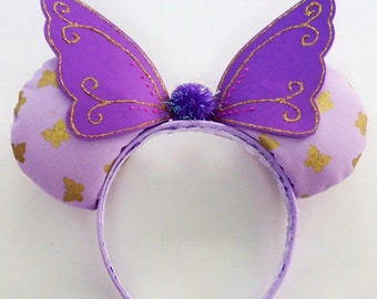 Purple Fairy Winged Mickey/Minnie  Mouse Ears, Vidia Ears, Tinkerbell Ears, Disney Inspired Ears