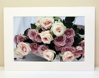 Mounted Photograph of Pink and Purple Roses Resting in a Grey Trug
