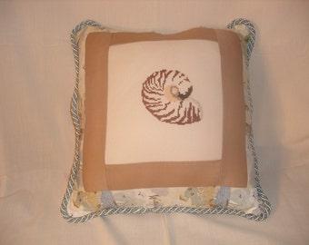 Cream Cross Stitch Nautilus  Pillow