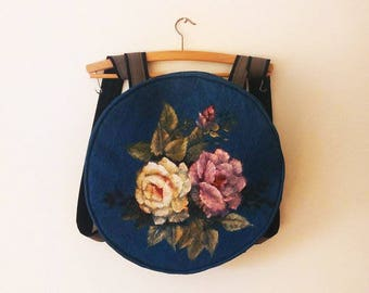 Round fabric backpack floral hand painted firm