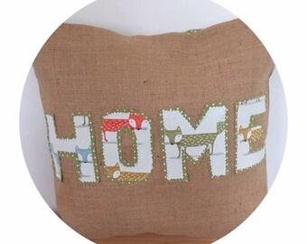 Handmade fox fabric and hessian cushion