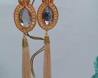 Earrings of soutache in shades of coral and veige with gilded ornaments. Flamenco earrings. Bridal earrings. Valentine's Day gift. Footrope