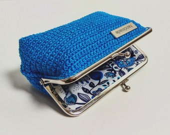 Blue kiss lock purse, womens wallet, clasp purse, clutch, handmade pouch, crochet clip coin purse, gift for her, birthday gift, home decor
