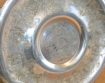 Vintage Aluminium Serving Tray- Butterfly motif